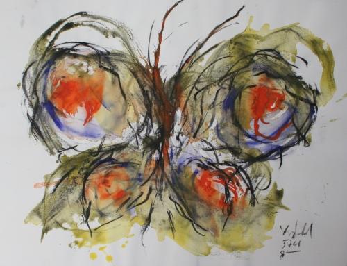 yves juhel, peintre, peinture, art, l'œuvre de la semaine, 2001, gouache, fusain, papier, papillon