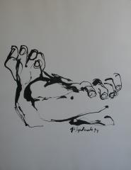 yves juhel, art, peintre, peinture, l'œuvre de la semaine, encre, papier, 1994, études, anatomie