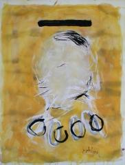 yves juhel,art,peintre,peinture,rétrospective,gouache,papier,2003,personnages,plumes,perles,feuillage