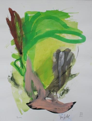 yves juhel, art, peintre, peinture, l'œuvre de la semaine, 2002, gouache, encree, papier, personnages, plumes