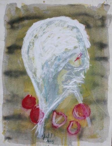 yves juhel, art, peintre, peinture, l'œuvre de la semaine, gouache, papier, 2003, personnage, perles