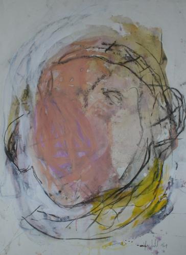 yves juhel, art, peintre, peinture, l'œuvre de la semaine, 2001, gouache, papier, fusain, personnage, cyclope