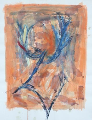yves juhel, art, peintre, peinture, l'œuvre de la semaine, gouache, papier, 2003, personnages, plumes