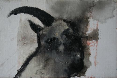yves juhel,art,peintre,peinture,l'œuvre de la semaine,huile,toile,animaux,2001,chèvre