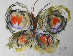 yves juhel,art,peintre,peinture,rétrospective,fusain,gouache,papier,2001,animaux,papillon