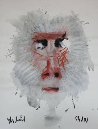yves juhel, art, peinture, peintre, l'œuvre de la semaine, gouache, papier, 2001, animaux, singe