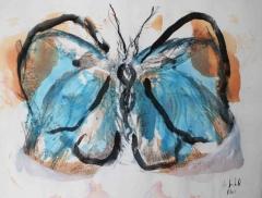 yves juhel, art, peintre, peinture, rétrospective, fusain, gouache, papier, 2001, animaux, papillon