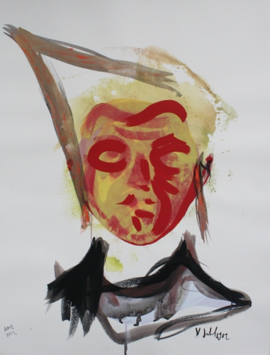 yves juhel, art, peintre, peinture, l'œuvre de la semaine, gouache, encre, papier, 2002, personnages