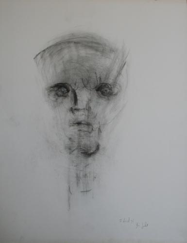 yves juhel, art, peintre, peinture, l'œuvre de la semaine, fusain, papier, 1996, personnage