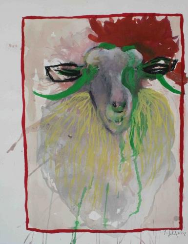 yves juhel, art, peinture, peintre, l'œuvre de la semaine, gouache, papier, 2002, animaux, ovins