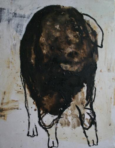 yves juhel, art, peintre, peinture, l'œuvre de la semaine, huile, toile, animaux, 2001, cochon