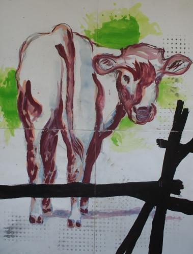 yves juhel, peintre, peinture, art, gouache, papier, l'œuvre de la semaine, animaux, vache, 2002