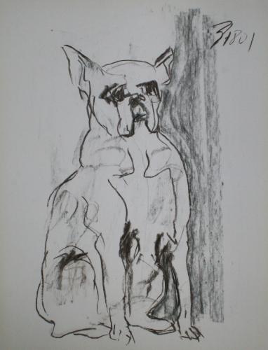yves juhel, art, peintre, peinture, l'œuvre de la semaine, fusain, papier, 2001, animaux, chien