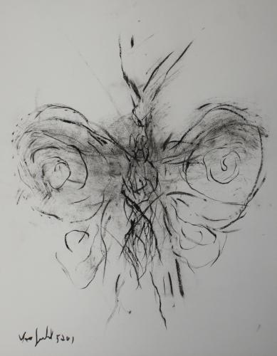 yves juhel, peintre, peinture, art, l'œuvre de la semaine, 2001, fusain, papier, animaux, papillon