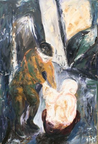 collection privée, huile, toile, 1990, misère