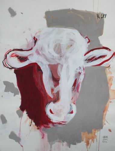 yves juhel,peintre,peinture,art,l'œuvre de la semaine,gouache,papier,2002,animaux,vache