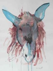 yves juhel, art, peintre, peinture, l'œuvre de la semaine, fusain, papier, 2002, animaux, âne