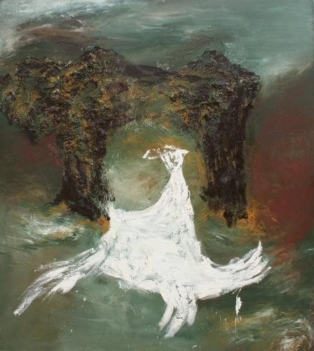 yves juhel, art, peintre, peinture, l'œuvre de la semaine, huile, toile, 1992, animaux