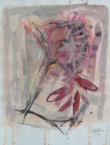 yves juhel, art, peintre, peinture, l'œuvre de la semaine, gouache, papier, 2003, personnage, plumes