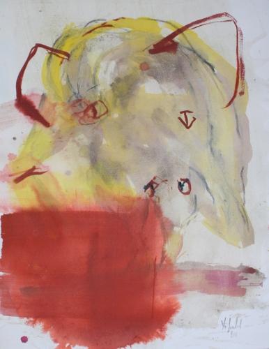 yves juhel, art, peintre, peinture, l'œuvre de la semaine, gouache, papier, 2001, animaux