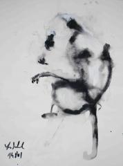 yves juhel,art,peintre,peinture,rétrospective,huile,toile,gouache,papier,animaux,singe,2001