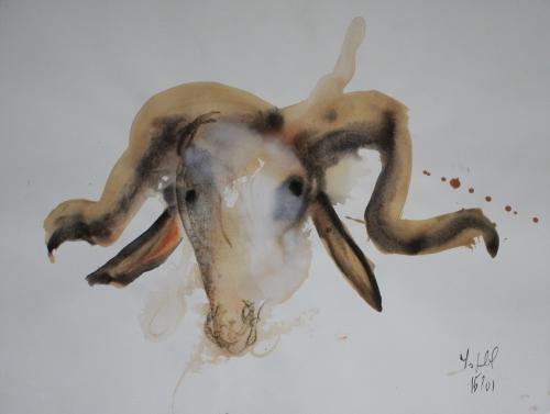 yves juhel, art, peintre, peinture, l'œuvre de la semaine, 2001, gouache, animaux