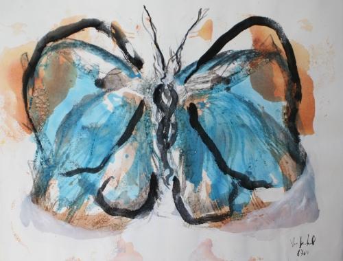 yves juhel, peintre, peinture, art, l'œuvre de la semaine, gouache, papier, 2001, animaux, papillon