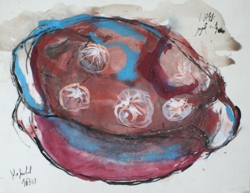 yves juhel, peintre, peinture, art, l'œuvre de la semaine, gouache, encre, fusain, papier, 2001