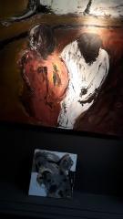 yves juhel, art, peintre, peinture, l'œuvre de la semaine, huile, toile, 1990, personnages, misère