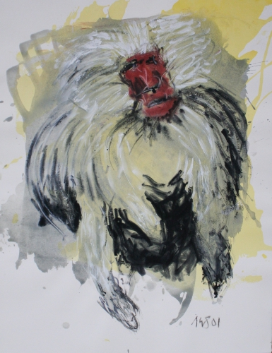 yves juhel, art, peintre, peinture, l'œuvre de la semaine, 2001, gouache, encre, fusain, papier, animaux, singe