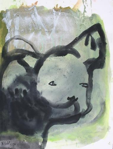 yves juhel, art, peintre, peinture, l'œuvre de la semaine, gouache, papier, 2001, animaux, chien