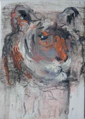 yves juhel, art, peintre, peinture, l'œuvre de la semaine, gouache, papier, 2001, animaux, tigre