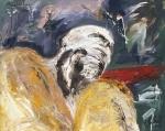 yves juhel, peintre, peinture, art, l'œuvre de la semaine, sanguine, fusain, craie blanche, craie grasse, papier, 1990, misère, personnages